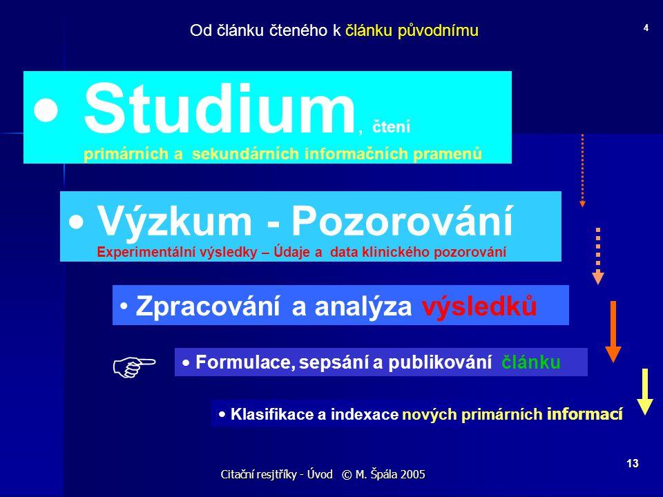 Citační resjtříky - Úvod © M. Špála 2005 13 4 Od článku čteného k článku původnímu Studium, čtení primárních a sekundárních informačních pramenů Výzku