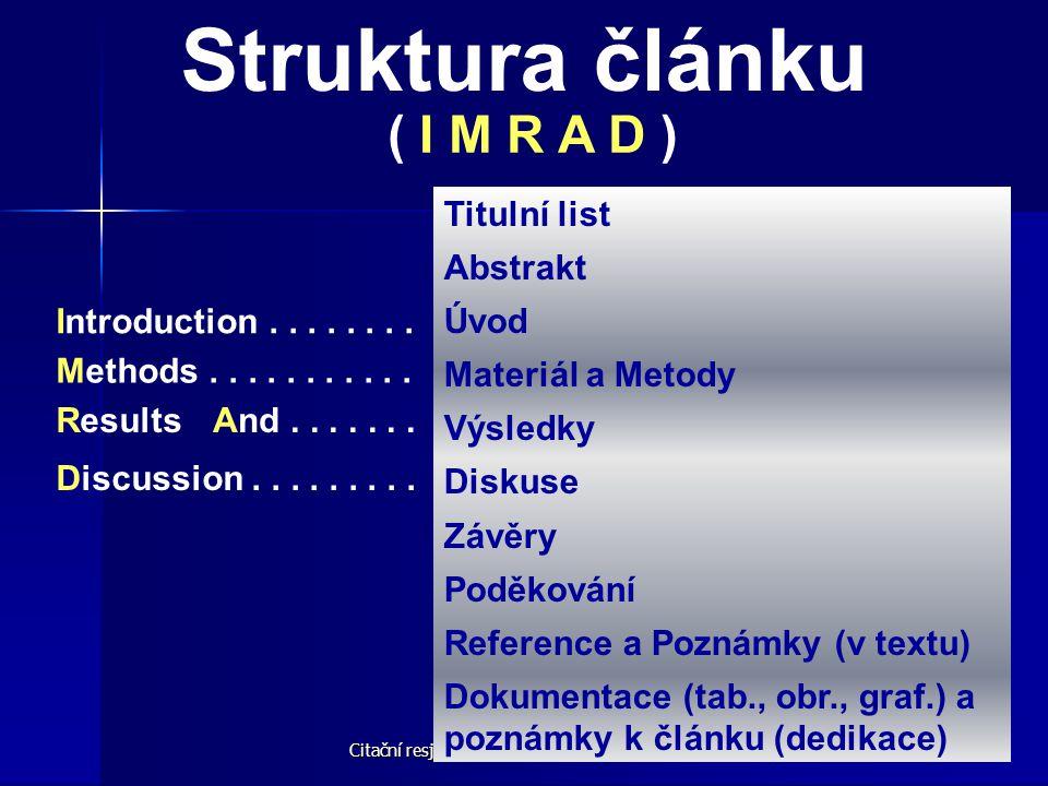 Citační resjtříky - Úvod © M. Špála 2005 19 Struktura článku ( I M R A D ) Introduction........ Methods........... ResultsAnd....... Discussion.......