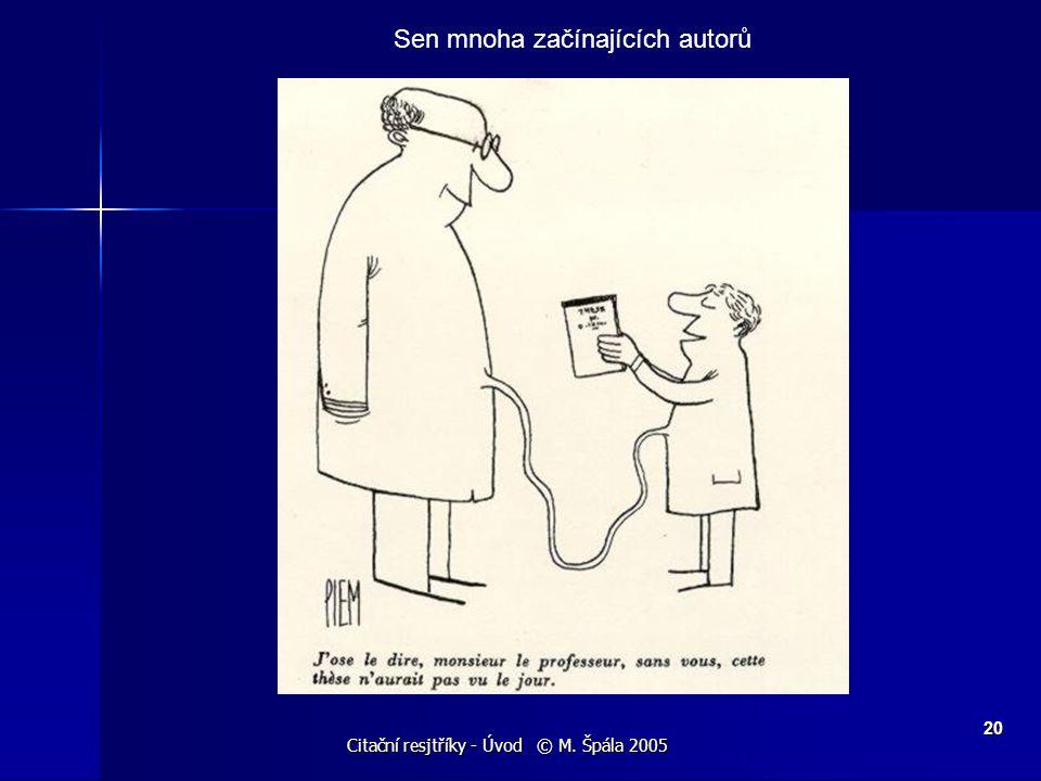 Citační resjtříky - Úvod © M. Špála 2005 20 Sen mnoha začínajících autorů