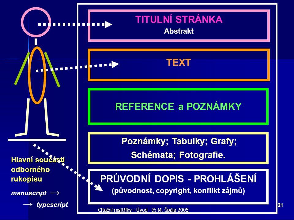 Citační resjtříky - Úvod © M. Špála 2005 21 TEXT. REFERENCE a POZNÁMKY TITULNÍ STRÁNKA Abstrakt Poznámky; Tabulky; Grafy; Schémata; Fotografie. PRŮVOD