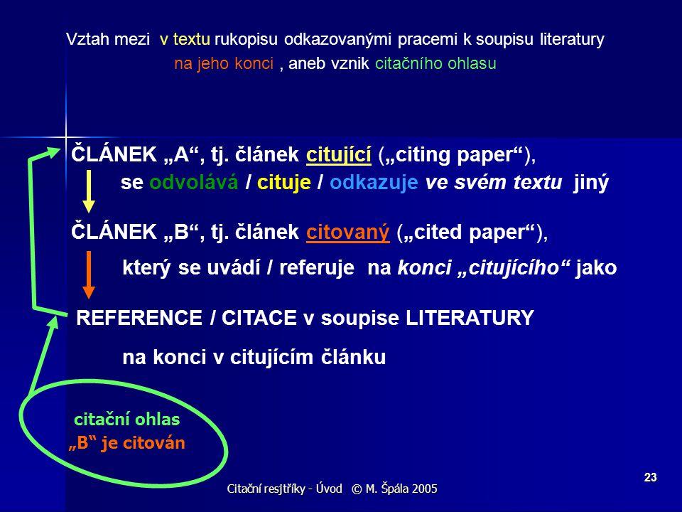 """Citační resjtříky - Úvod © M. Špála 2005 23 ČLÁNEK """"A"""", tj. článek citující (""""citing paper""""), se odvolává / cituje / odkazuje ve svém textu jiný ČLÁNE"""