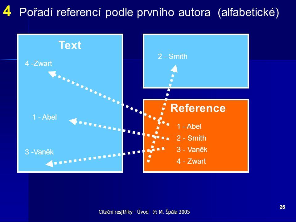 Citační resjtříky - Úvod © M. Špála 2005 26 Text Reference 4 Pořadí referencí podle prvního autora (alfabetické) 1 - Abel 2 - Smith 3 - Vaněk 4 - Zwar