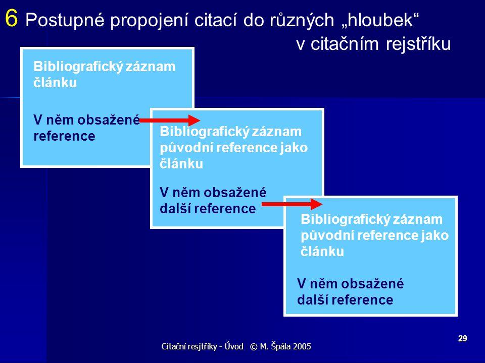 Citační resjtříky - Úvod © M. Špála 2005 29 Bibliografický záznam článku V něm obsažené reference Bibliografický záznam původní reference jako článku