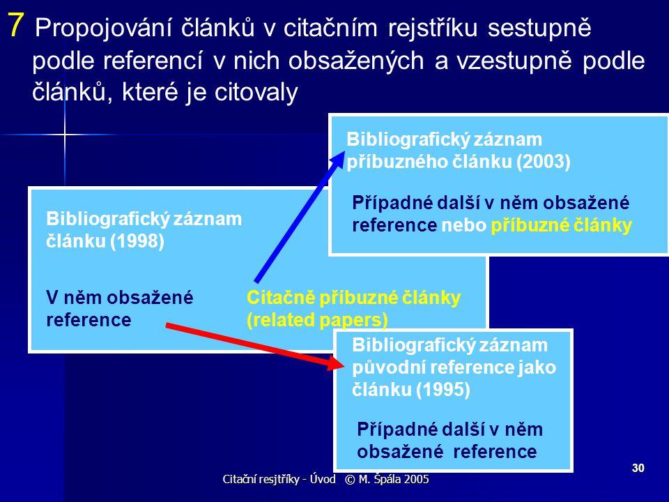 Citační resjtříky - Úvod © M. Špála 2005 30 Bibliografický záznam článku (1998) V něm obsažené reference Bibliografický záznam původní reference jako