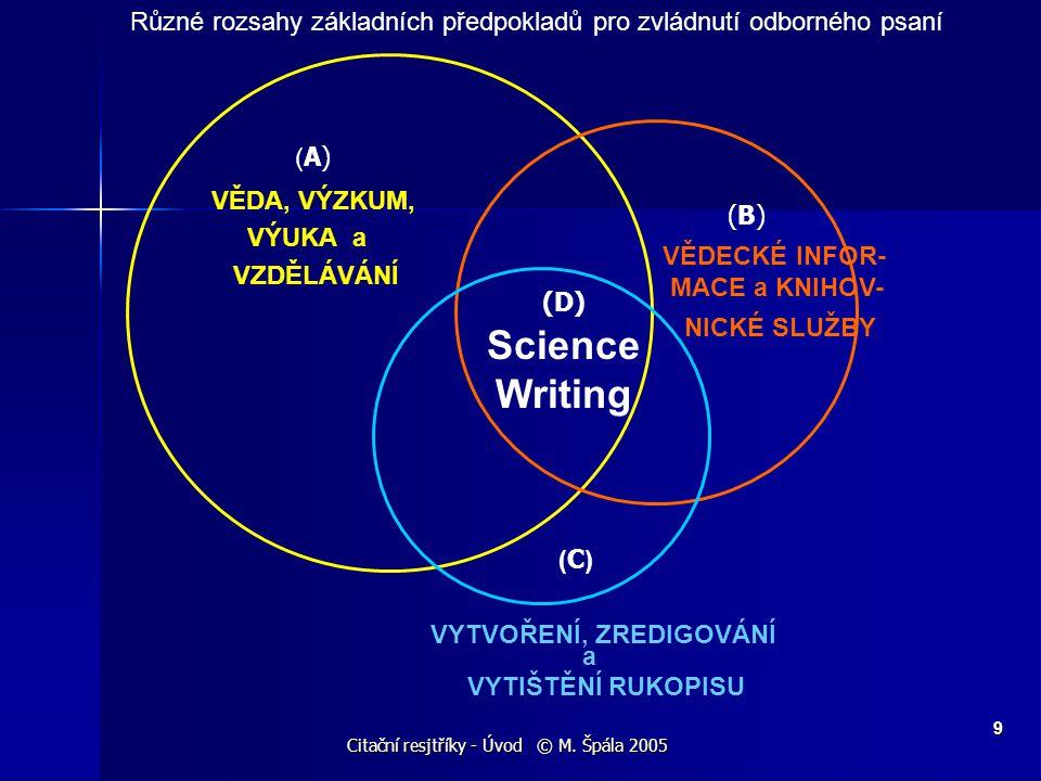 Citační resjtříky - Úvod © M. Špála 2005 9 ( C ) VYTVOŘENÍ, ZREDIGOVÁNÍ a VYTIŠTĚNÍ RUKOPISU ( A) VĚDA, VÝZKUM, VÝUKA a VZDĚLÁVÁNÍ (B) VĚDECKÉ INFOR-