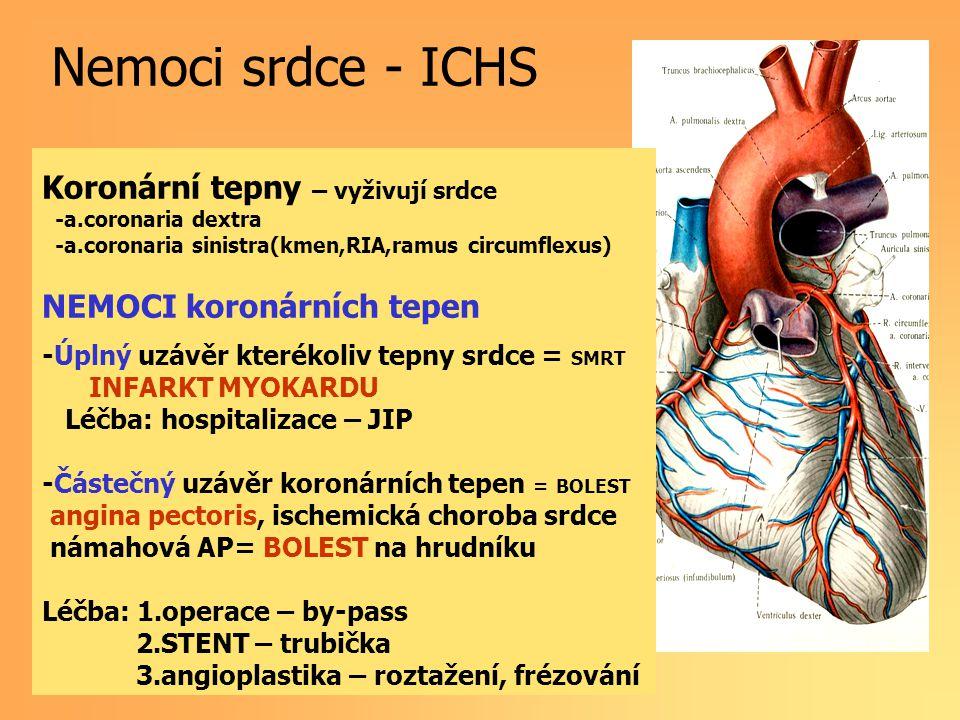 Koronární tepny – vyživují srdce -a.coronaria dextra -a.coronaria sinistra(kmen,RIA,ramus circumflexus) NEMOCI koronárních tepen -Úplný uzávěr kterékoliv tepny srdce = SMRT INFARKT MYOKARDU Léčba: hospitalizace – JIP -Částečný uzávěr koronárních tepen = BOLEST angina pectoris, ischemická choroba srdce námahová AP= BOLEST na hrudníku Léčba: 1.operace – by-pass 2.STENT – trubička 3.angioplastika – roztažení, frézování Nemoci srdce - ICHS