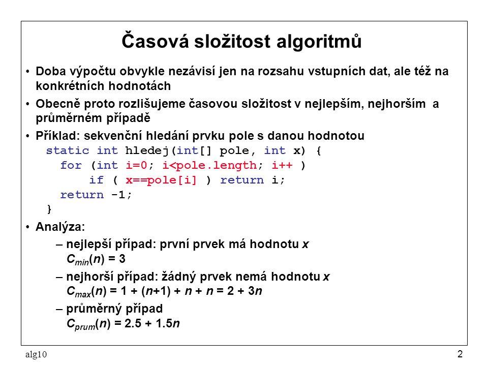 alg102 Časová složitost algoritmů Doba výpočtu obvykle nezávisí jen na rozsahu vstupních dat, ale též na konkrétních hodnotách Obecně proto rozlišujem