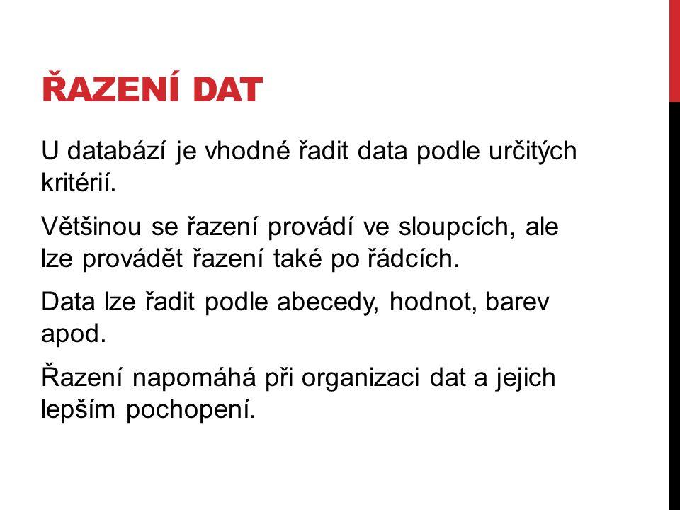 ŘAZENÍ DAT U databází je vhodné řadit data podle určitých kritérií.