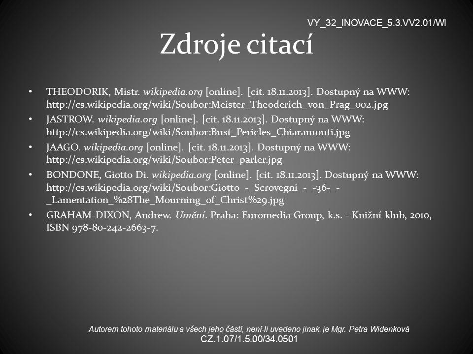 Zdroje citací THEODORIK, Mistr.wikipedia.org [online].
