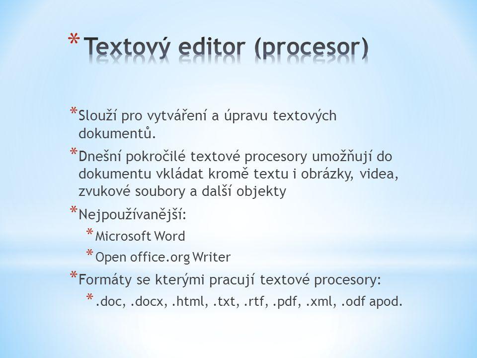 * Slouží pro vytváření a úpravu textových dokumentů.