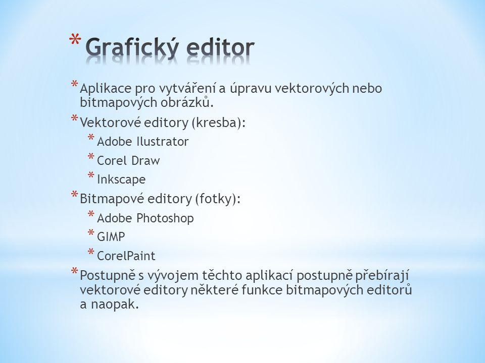 * Aplikace pro vytváření a úpravu vektorových nebo bitmapových obrázků.
