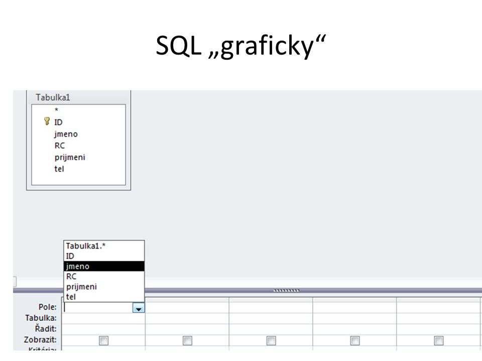 Grafický vs. pravý SQL SELECT ORDED BY WHERE