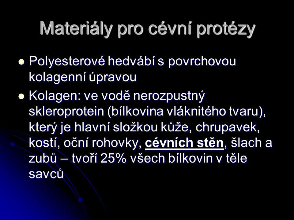 Materiály pro cévní protézy Polyesterové hedvábí s povrchovou kolagenní úpravou Polyesterové hedvábí s povrchovou kolagenní úpravou Kolagen: ve vodě n