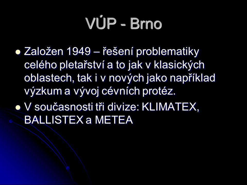 VÚP - Brno Založen 1949 – řešení problematiky celého pletařství a to jak v klasických oblastech, tak i v nových jako například výzkum a vývoj cévních