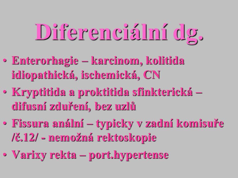 Diferenciální dg. Enterorhagie – karcinom, kolitida idiopathická, ischemická, CNEnterorhagie – karcinom, kolitida idiopathická, ischemická, CN Kryptit