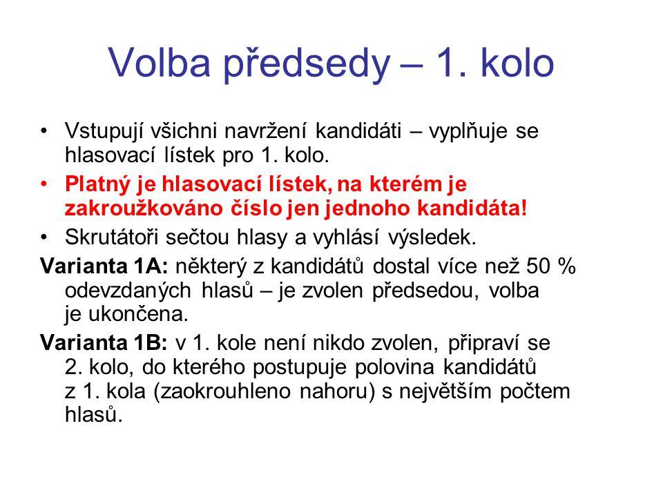 Volba předsedy – 1. kolo Vstupují všichni navržení kandidáti – vyplňuje se hlasovací lístek pro 1.