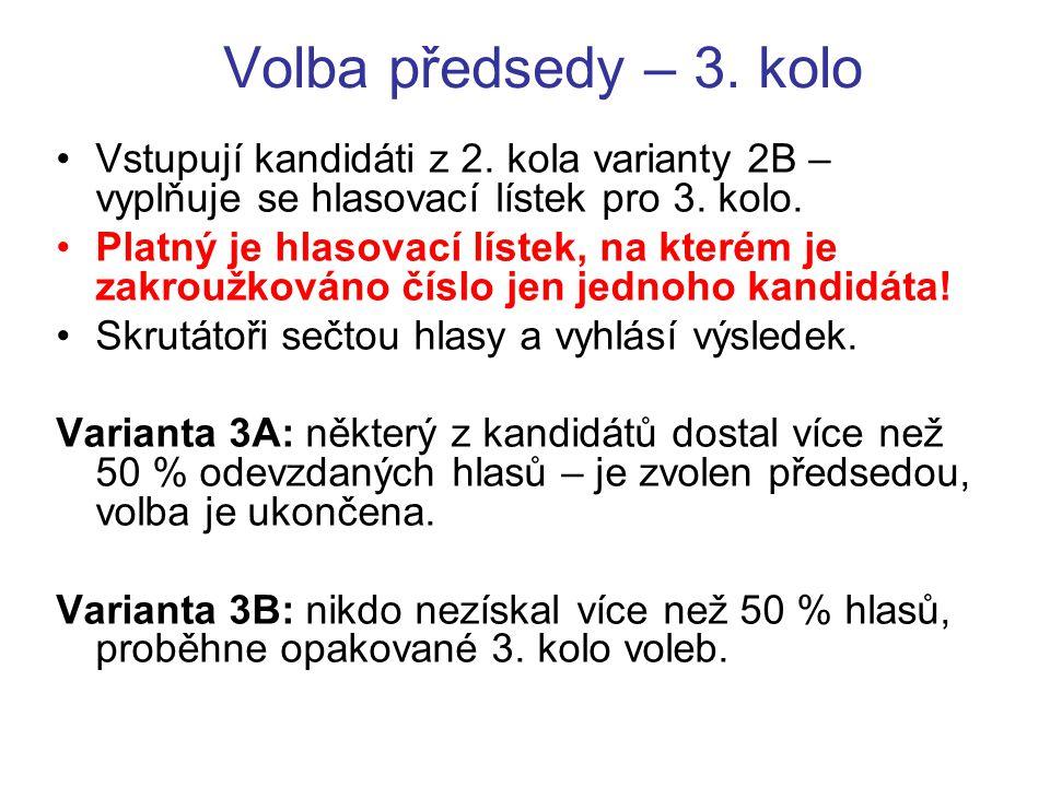 Volba předsedy – 3. kolo Vstupují kandidáti z 2.