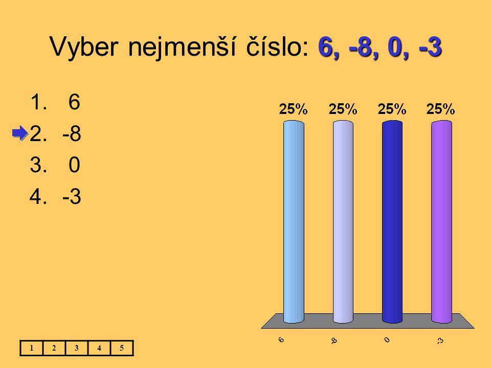 -12, 3, -25, 0 Vyber největší číslo: -12, 3, -25, 0 12345 1.-12 2. 3 3.-25 4. 0