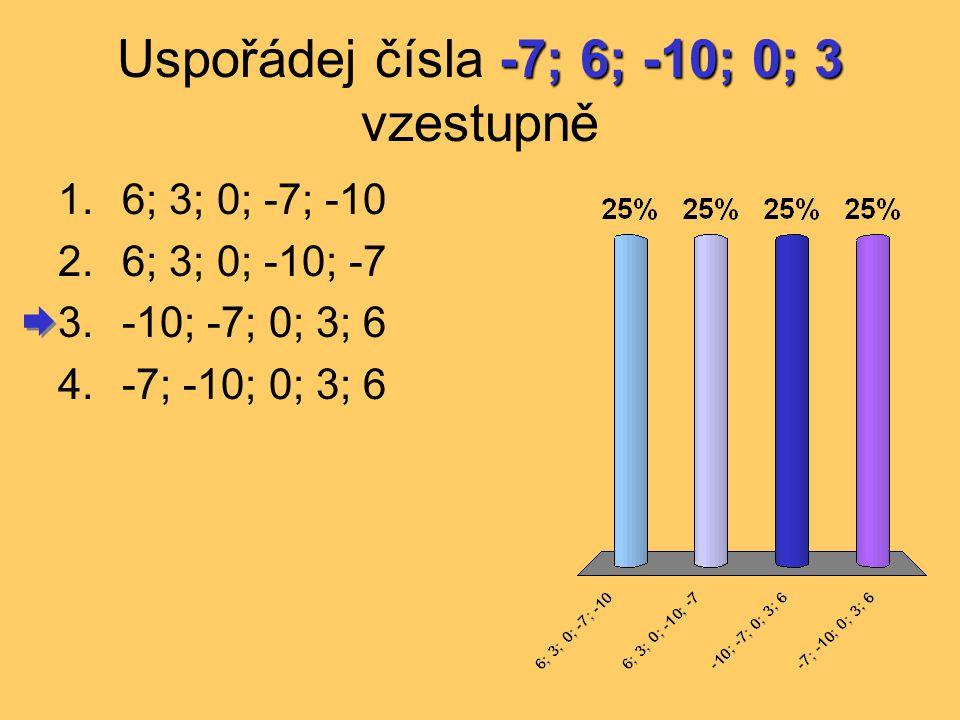 -7; 6; -10; 0; 3 Uspořádej čísla -7; 6; -10; 0; 3 vzestupně 1.6; 3; 0; -7; -10 2.6; 3; 0; -10; -7 3.-10; -7; 0; 3; 6 4.-7; -10; 0; 3; 6