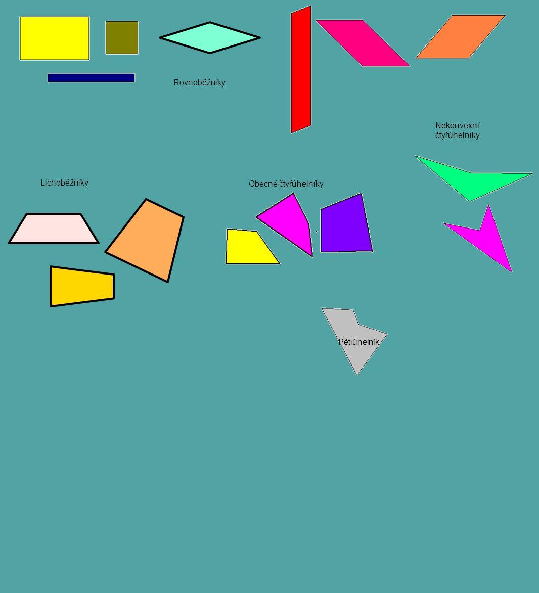 Rovnoběžníky Lichoběžníky Obecné čtyřúhelníky Nekonvexní čtyřúhelníky Pětiúhelník