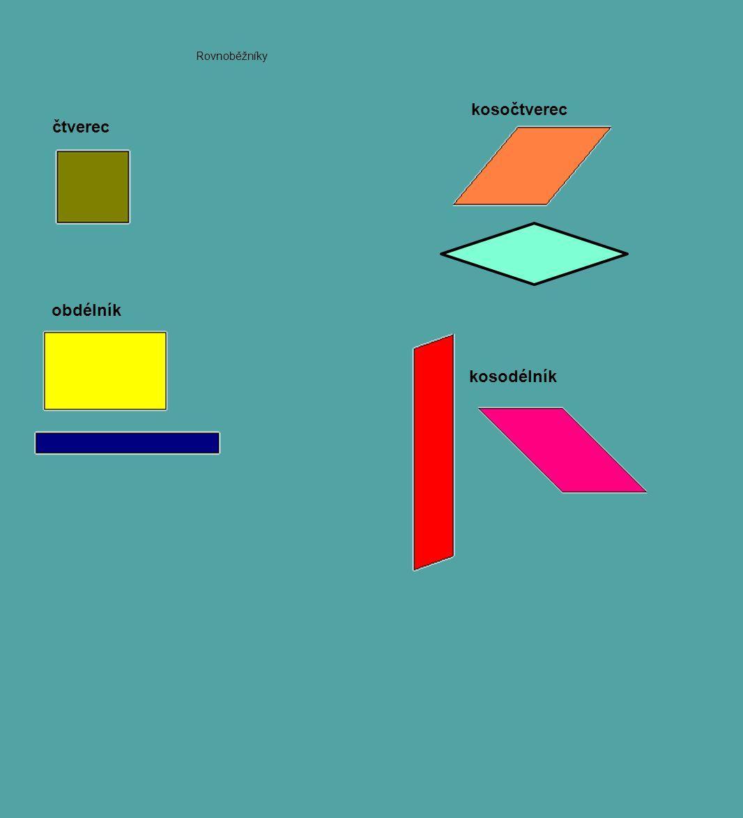 obdélník kosodélník čtverec kosočtverec Rovnoběžníky