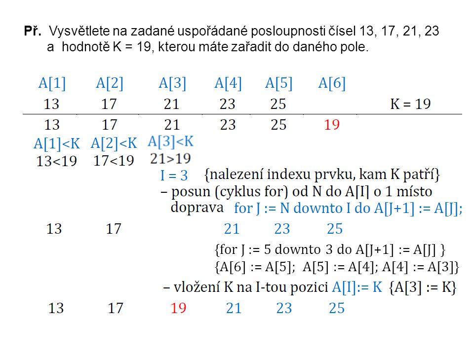 Příklad Je dáno pole tvořené N celočíselnými prvky, které jsou uspořádány vzestupně.