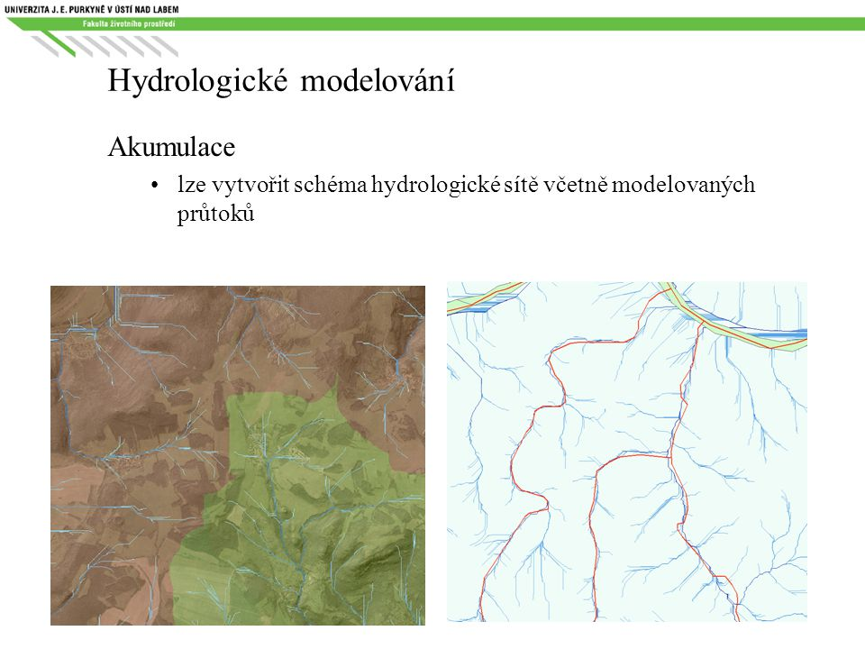 Hydrologické modelování Akumulace lze vytvořit schéma hydrologické sítě včetně modelovaných průtoků