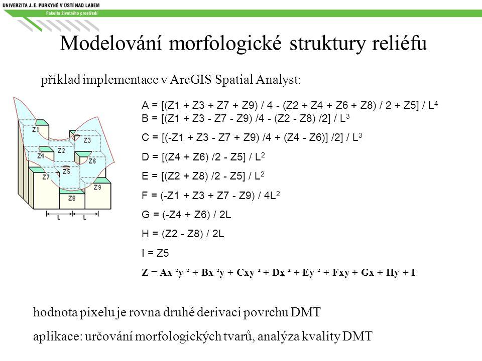 Modelování morfologické struktury reliéfu příklad implementace v ArcGIS Spatial Analyst: A = [(Z1 + Z3 + Z7 + Z9) / 4 - (Z2 + Z4 + Z6 + Z8) / 2 + Z5]