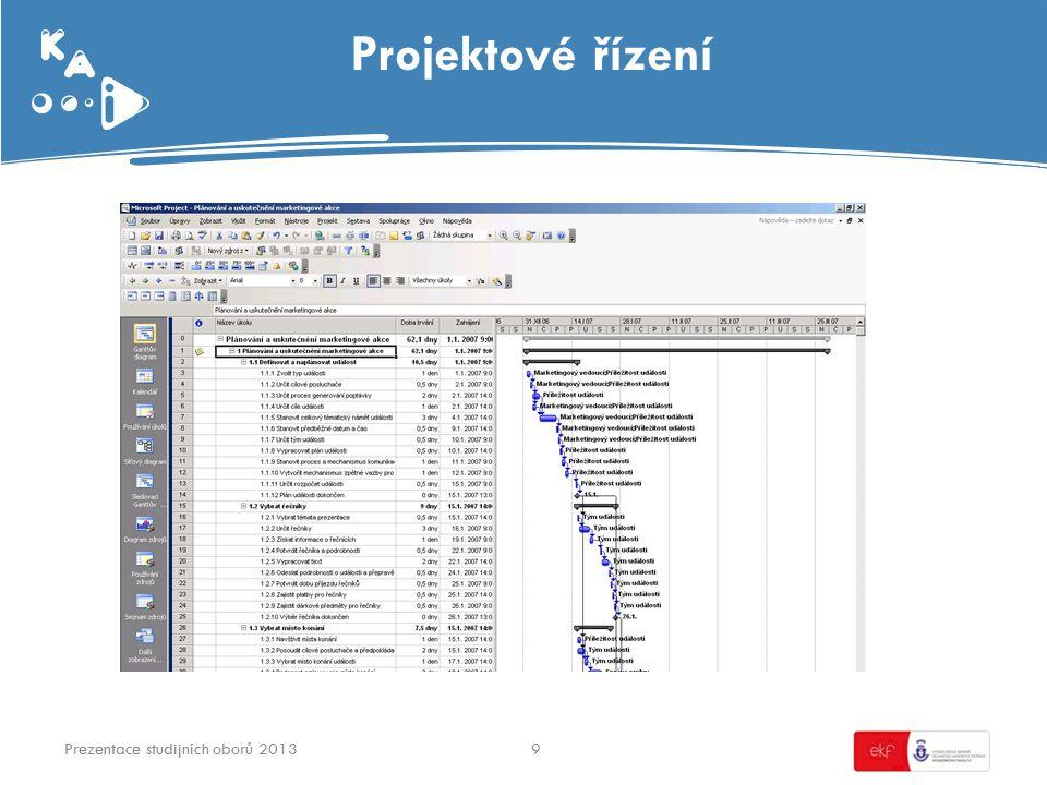 Projektové řízení Prezentace studijních oborů 20139