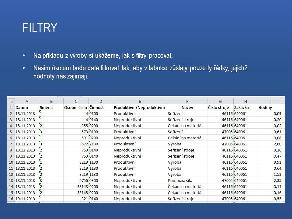FILTRY Na příkladu z výroby si ukážeme, jak s filtry pracovat, Naším úkolem bude data filtrovat tak, aby v tabulce zůstaly pouze ty řádky, jejichž hodnoty nás zajímají.