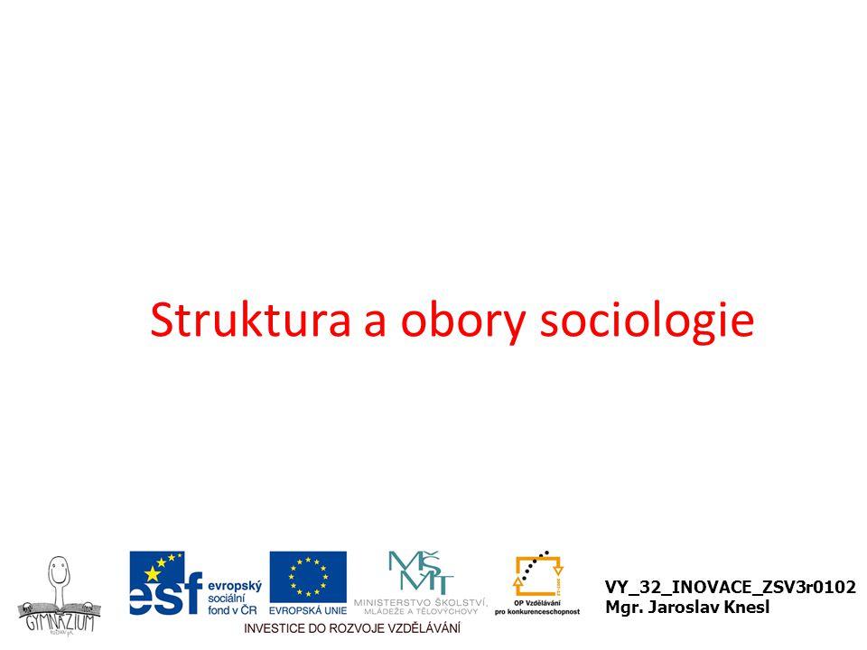 Struktura a obory sociologie VY_32_INOVACE_ZSV3r0102 Mgr. Jaroslav Knesl