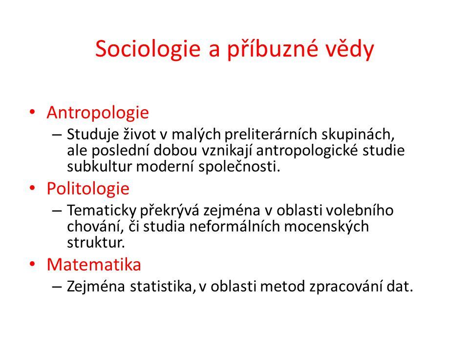 Sociologie a příbuzné vědy Antropologie – Studuje život v malých preliterárních skupinách, ale poslední dobou vznikají antropologické studie subkultur moderní společnosti.