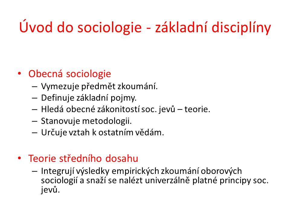 Úvod do sociologie - základní disciplíny Obecná sociologie – Vymezuje předmět zkoumání.