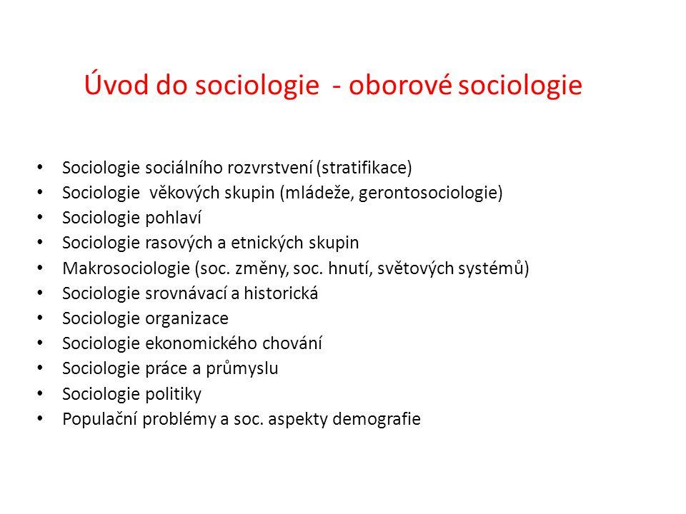 Úvod do sociologie - oborové sociologie Sociologie sociálního rozvrstvení (stratifikace) Sociologie věkových skupin (mládeže, gerontosociologie) Sociologie pohlaví Sociologie rasových a etnických skupin Makrosociologie (soc.
