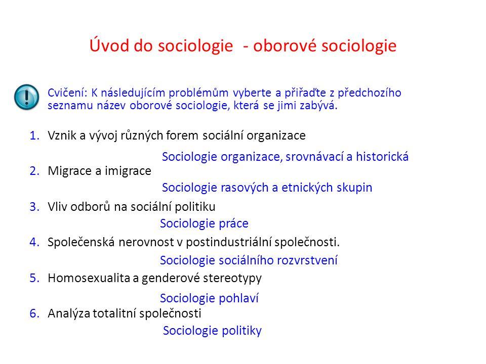 Úvod do sociologie - oborové sociologie Cvičení: K následujícím problémům vyberte a přiřaďte z předchozího seznamu název oborové sociologie, která se jimi zabývá.