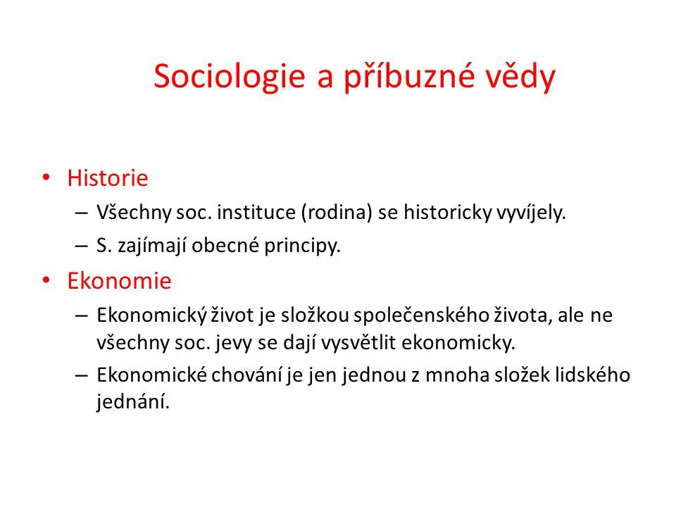 Sociologie a příbuzné vědy Historie – Všechny soc.