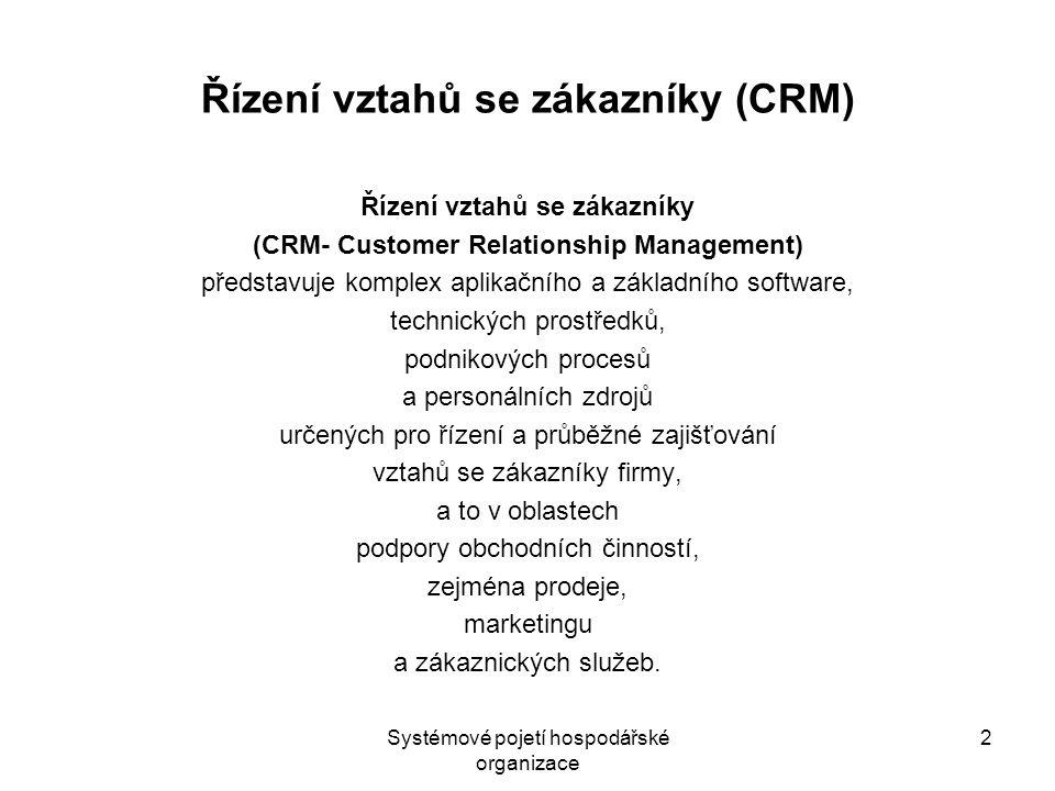 Systémové pojetí hospodářské organizace 2 Řízení vztahů se zákazníky (CRM) Řízení vztahů se zákazníky (CRM- Customer Relationship Management) představ
