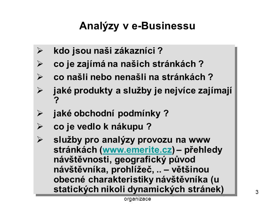 Systémové pojetí hospodářské organizace 4 Řízení podnikových zdrojů - ERP Analytické CRM (Customer Intelligence – analýzy zákazníků, marketingové kampaně) e-Business Provozní aplikace …..