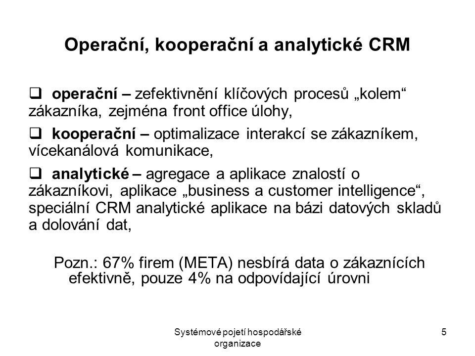 Systémové pojetí hospodářské organizace 6 Operační, kooperační a analytické CRM dílčí aplikace:  aplikace podporující práci obchodníka (Sales Force Automation – SFA) - nástroje řízení kontaktů, podpora obchodní činnosti, jako např.