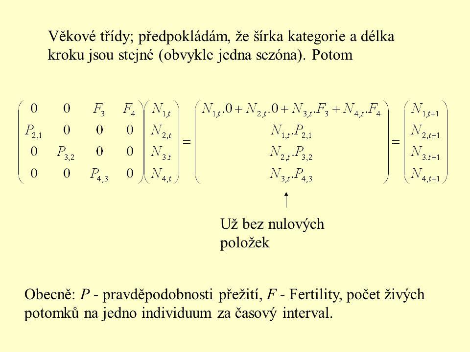 Věkové třídy; předpokládám, že šírka kategorie a délka kroku jsou stejné (obvykle jedna sezóna). Potom Už bez nulových položek Obecně: P - pravděpodob