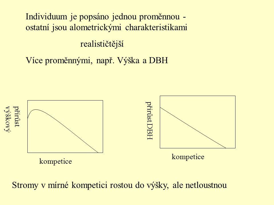 Individuum je popsáno jednou proměnnou - ostatní jsou alometrickými charakteristikami realističtější Více proměnnými, např. Výška a DBH kompetice přír
