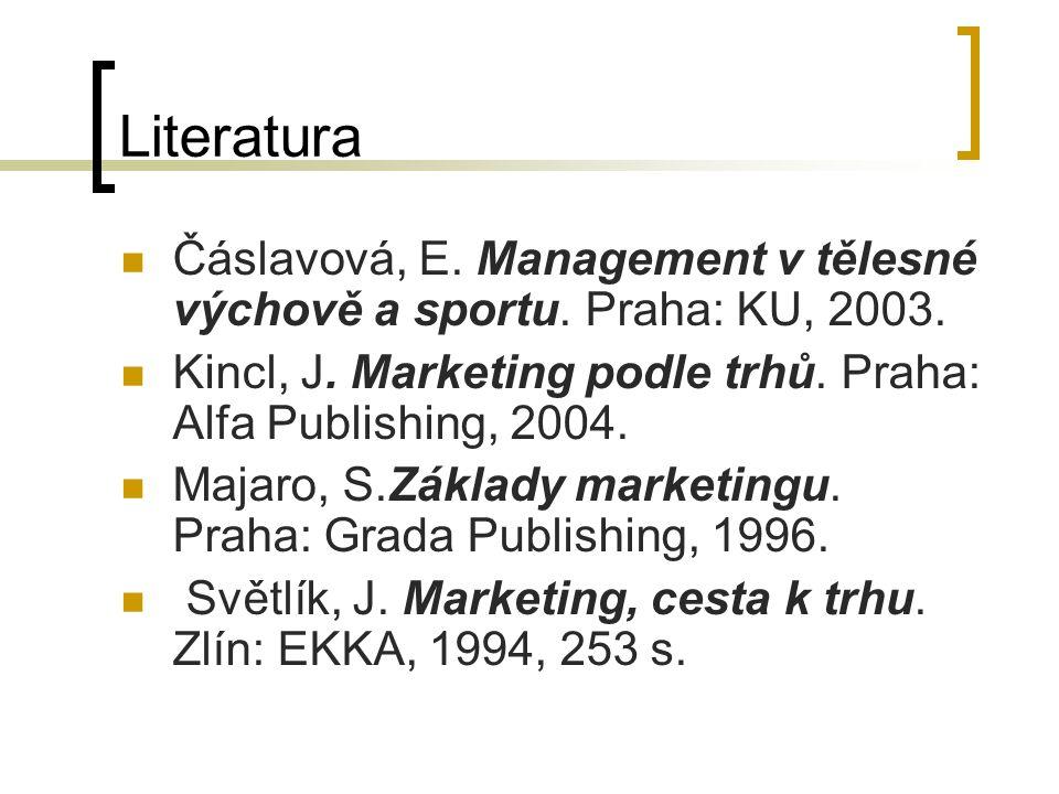 Literatura Čáslavová, E. Management v tělesné výchově a sportu. Praha: KU, 2003. Kincl, J. Marketing podle trhů. Praha: Alfa Publishing, 2004. Majaro,
