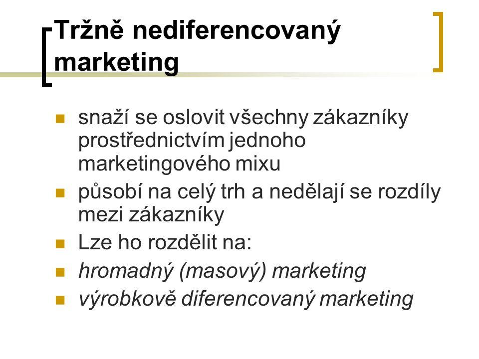 Tržně nediferencovaný marketing snaží se oslovit všechny zákazníky prostřednictvím jednoho marketingového mixu působí na celý trh a nedělají se rozdíl