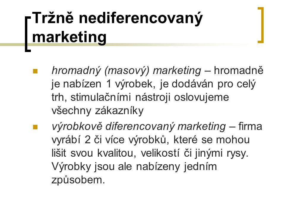 Tržně nediferencovaný marketing hromadný (masový) marketing – hromadně je nabízen 1 výrobek, je dodáván pro celý trh, stimulačními nástroji oslovujeme
