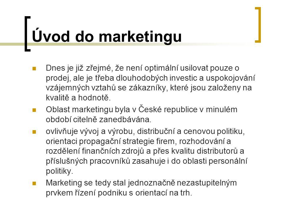 Úvod do marketingu Dnes je již zřejmé, že není optimální usilovat pouze o prodej, ale je třeba dlouhodobých investic a uspokojování vzájemných vztahů