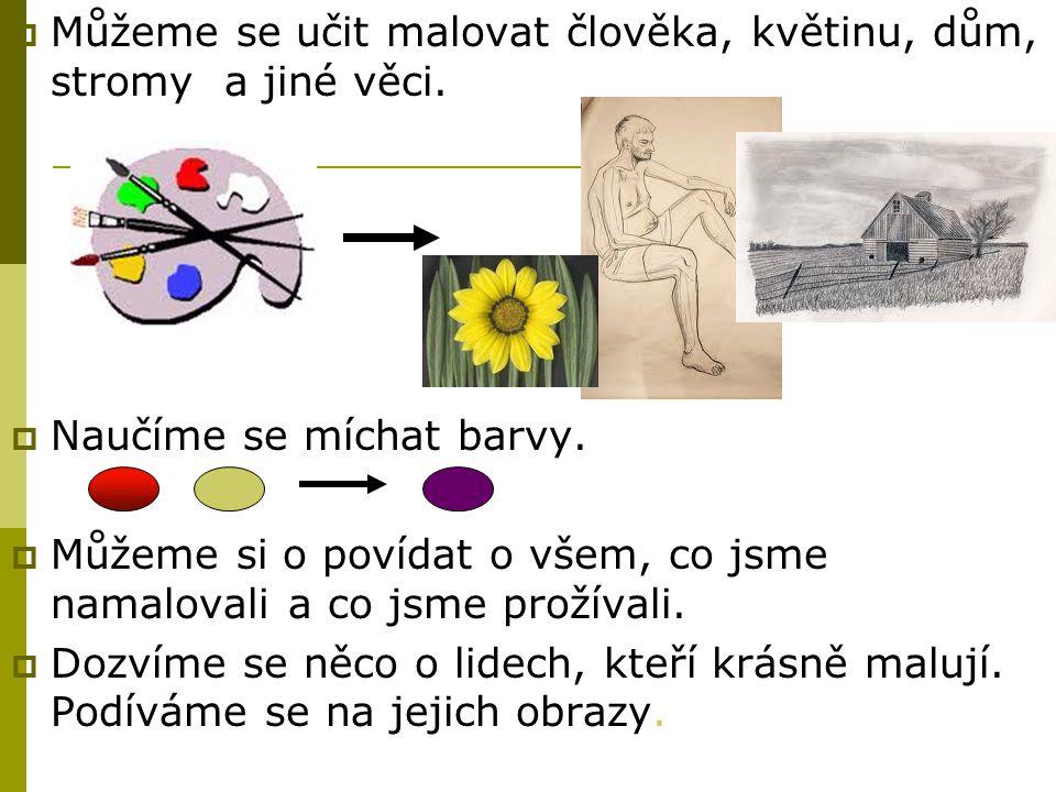  Můžeme se učit malovat člověka, květinu, dům, stromy a jiné věci.