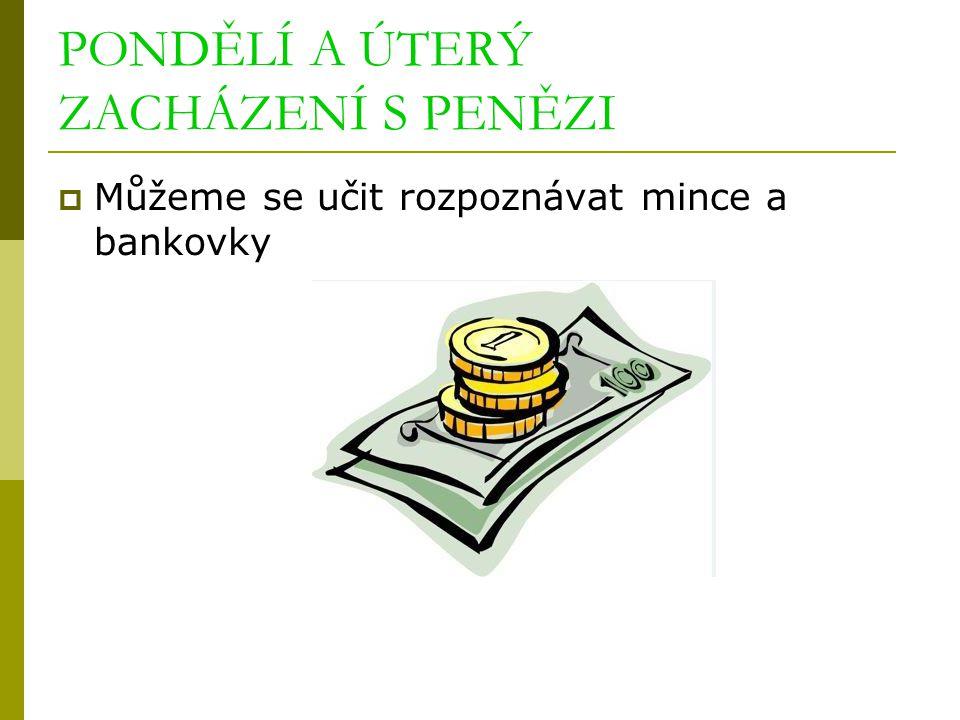 PONDĚLÍ A ÚTERÝ ZACHÁZENÍ S PENĚZI  Můžeme se učit rozpoznávat mince a bankovky