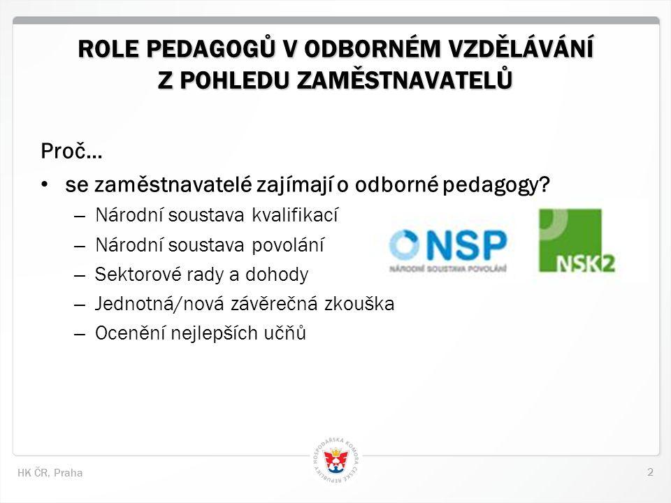 2 HK ČR, Praha ROLE PEDAGOGŮ V ODBORNÉM VZDĚLÁVÁNÍ Z POHLEDU ZAMĚSTNAVATELŮ Proč… se zaměstnavatelé zajímají o odborné pedagogy.