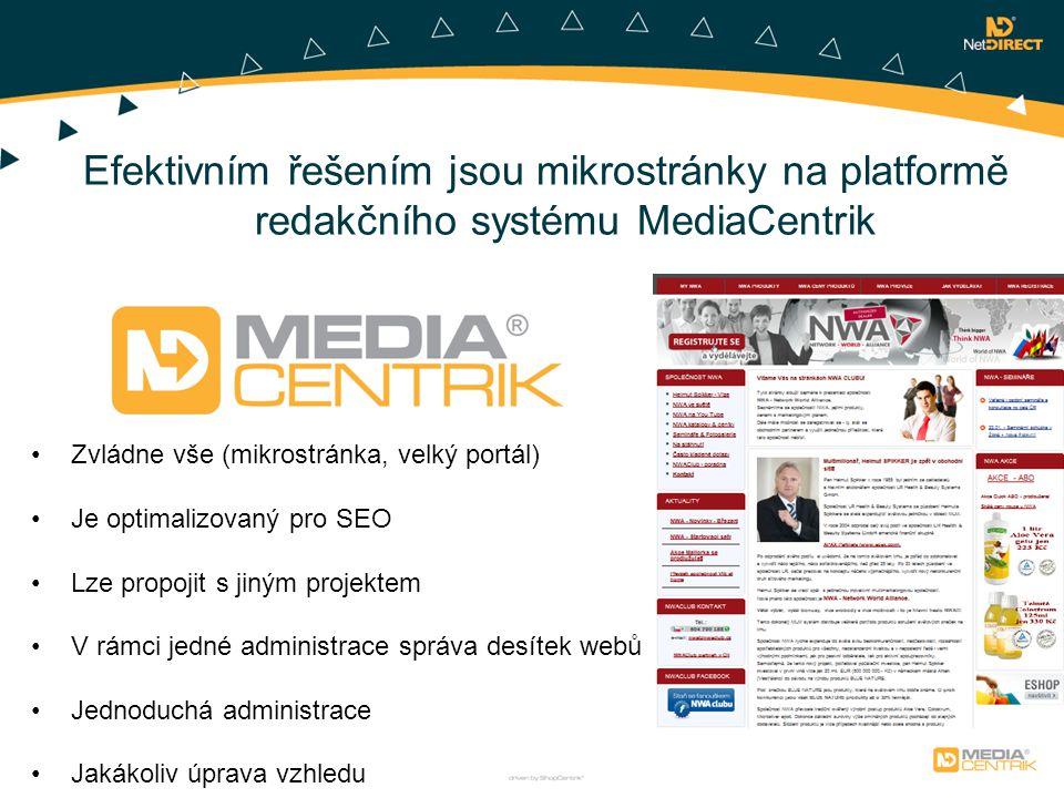 Efektivním řešením jsou mikrostránky na platformě redakčního systému MediaCentrik Zvládne vše (mikrostránka, velký portál) Je optimalizovaný pro SEO Lze propojit s jiným projektem V rámci jedné administrace správa desítek webů Jednoduchá administrace Jakákoliv úprava vzhledu