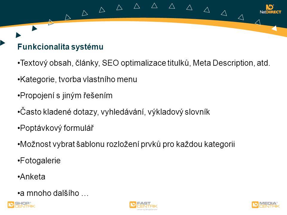 Funkcionalita systému Textový obsah, články, SEO optimalizace titulků, Meta Description, atd.